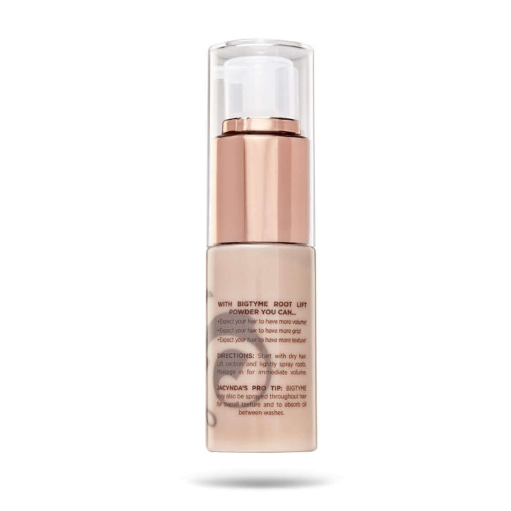 Product details on the back of TYME BIGTYME Root Lift Powder volume spray in a beige bottle with rose gold atomizer.