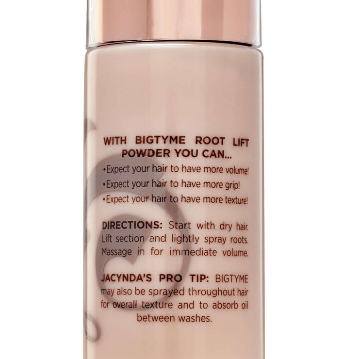 Close-up of TYME BIGTYME Root Lift Powder product details indicating it can be used to create volume or like a dry shampoo.