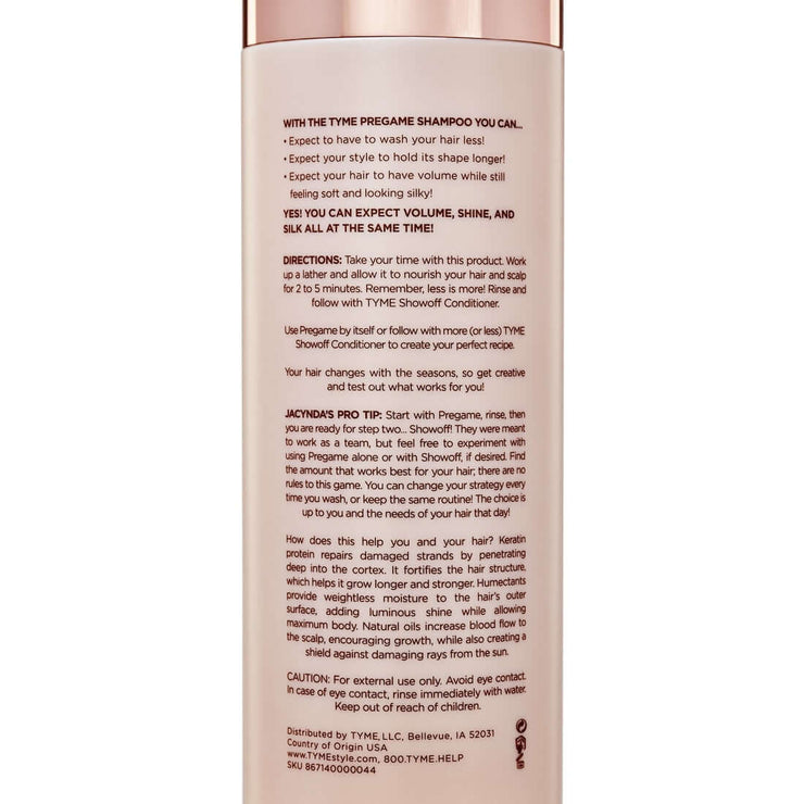 Back of TYME PREGAME Shampoo bottle with zoomed in product details and directions for use..