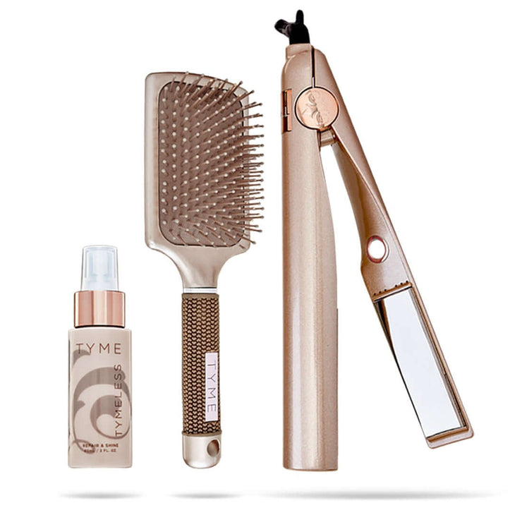 TYMELESSTYME UPSTAGED Thermal Protectant spray, TYME Paddle Hair Brush and TYME Iron Pro heat tool.