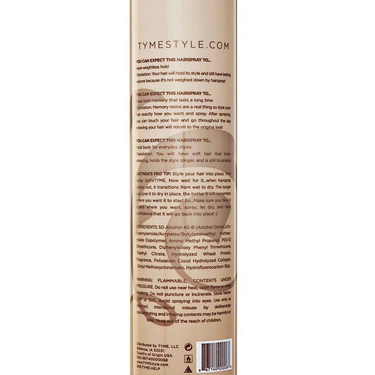 Back of TYME SELFIETYME Hairspray aerosol canister with product description and directions for use..