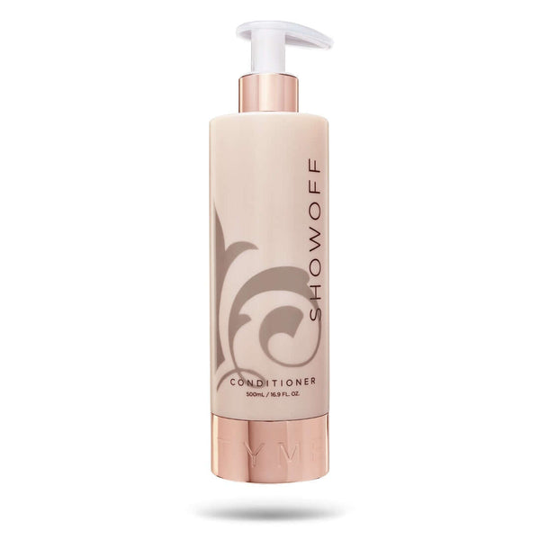 TYME SHOWOFF Conditioner in beige 16.9 ounce beige bottle with taupe fleur de lis logo and rose gold pump nozzle.