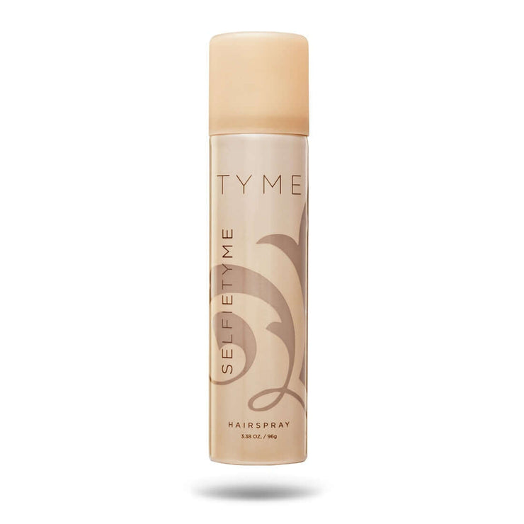 Travel size TYME SELFIETYME Hairspray in gold aerosol canister.