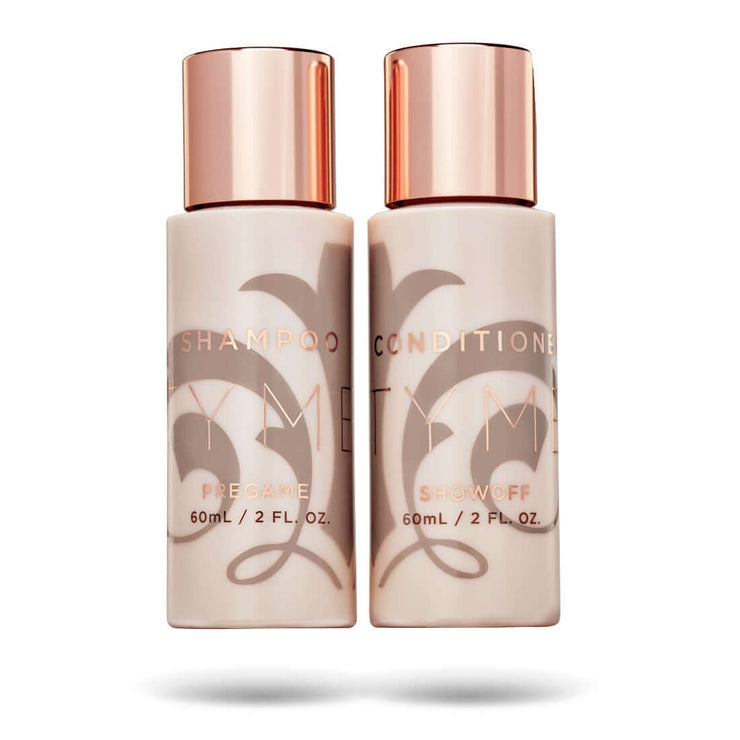 Travel size 2 ounce TYME Pregame Shampoo and Showoff Conditioner in a beige bottles with rose gold details.