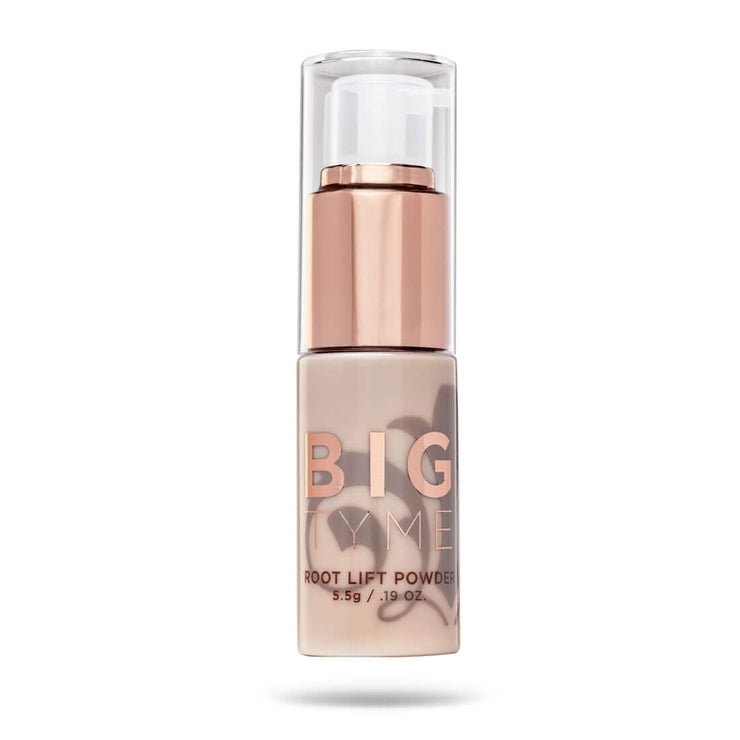 Front of TYME BIGTYME Root Lift Powder in a champagne pink bottle with the taupe fleur de lis logo and rose gold spray pump.