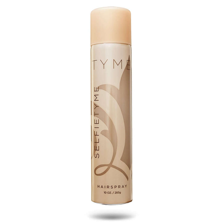 TYME SELFIETYME Hairspray in gold aerosol canister with dark gold logo and fleur de lis.