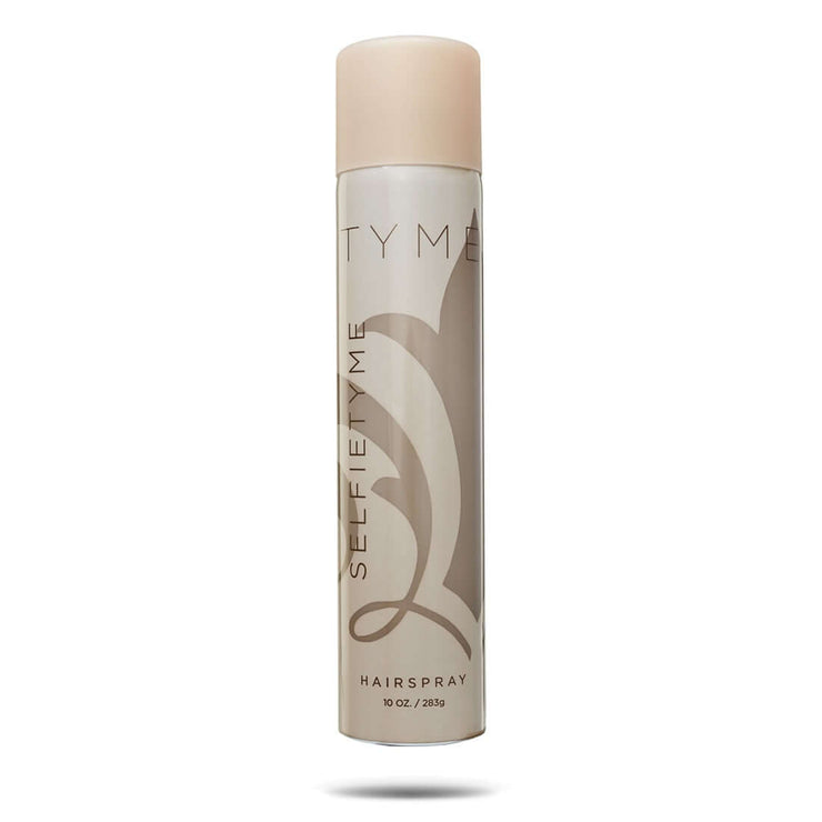 10 ounce bottle of SelfieTYME hairspray in light gold aerosol container.