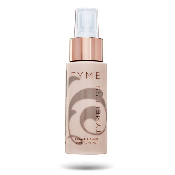 TYME TYMELESS Repair and Shine spray in beige bottle with rose gold atomizer.