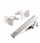 Diamond Cufflinks and Tie Pin Set