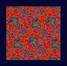 Load image into Gallery viewer, Paisley With Navy Border Pocket Square