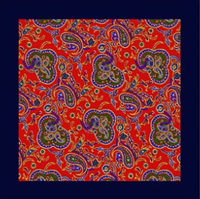 Paisley With Navy Border Pocket Square