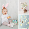 Collage of baby in Easter bunny ears, with Easter basket and Easter Tree
