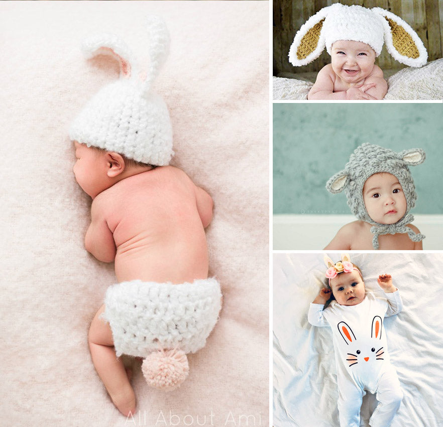 Collage of images of babies in Easter outfits