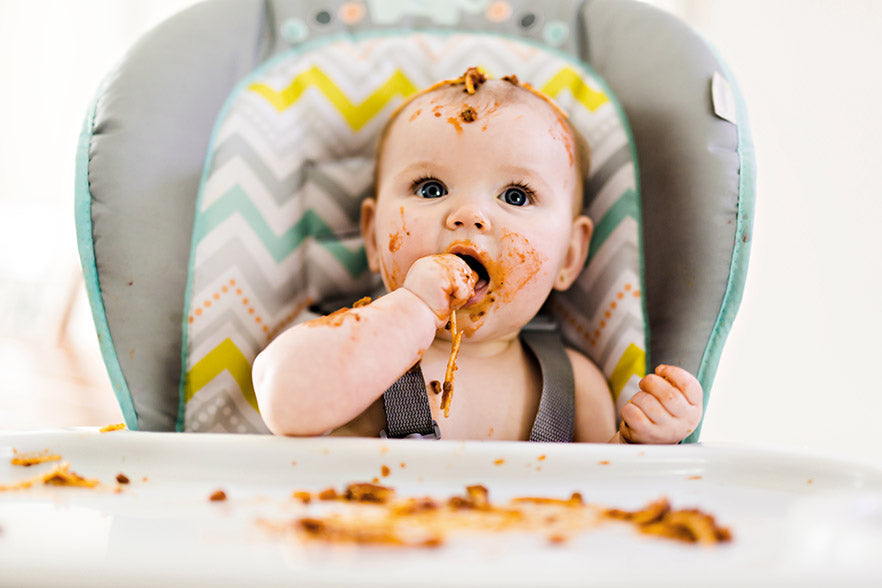 Baby-led weaning can be messy but fun