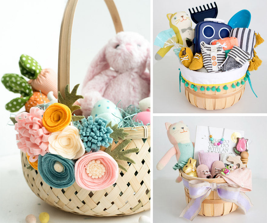 Collage of Easter basket ideas