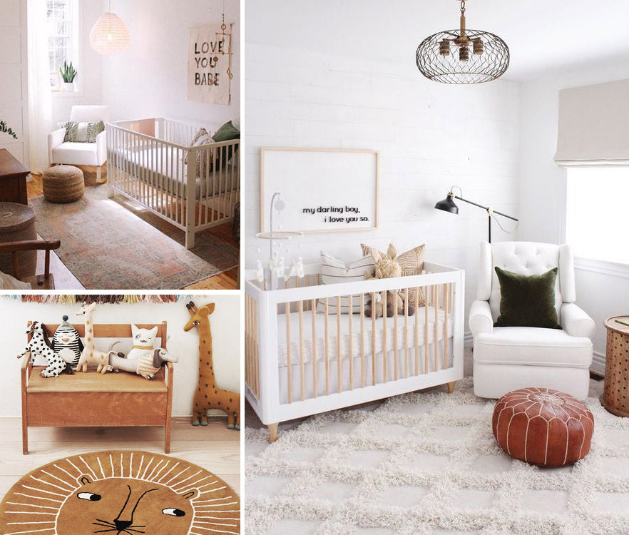 images of nursery flooring options including area rugs
