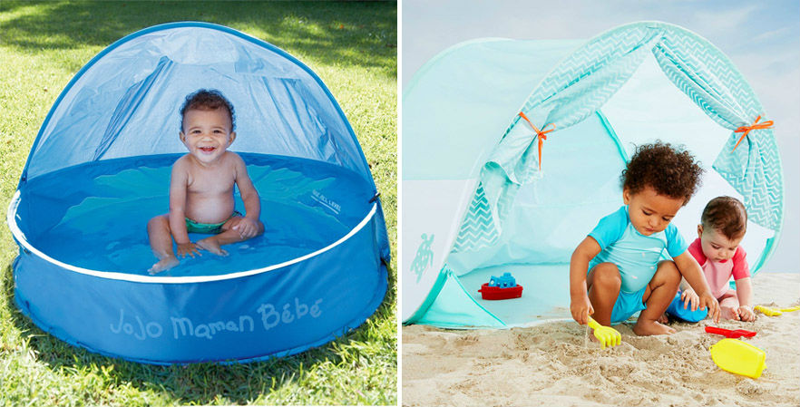 pop-up tent and paddling pool with shade