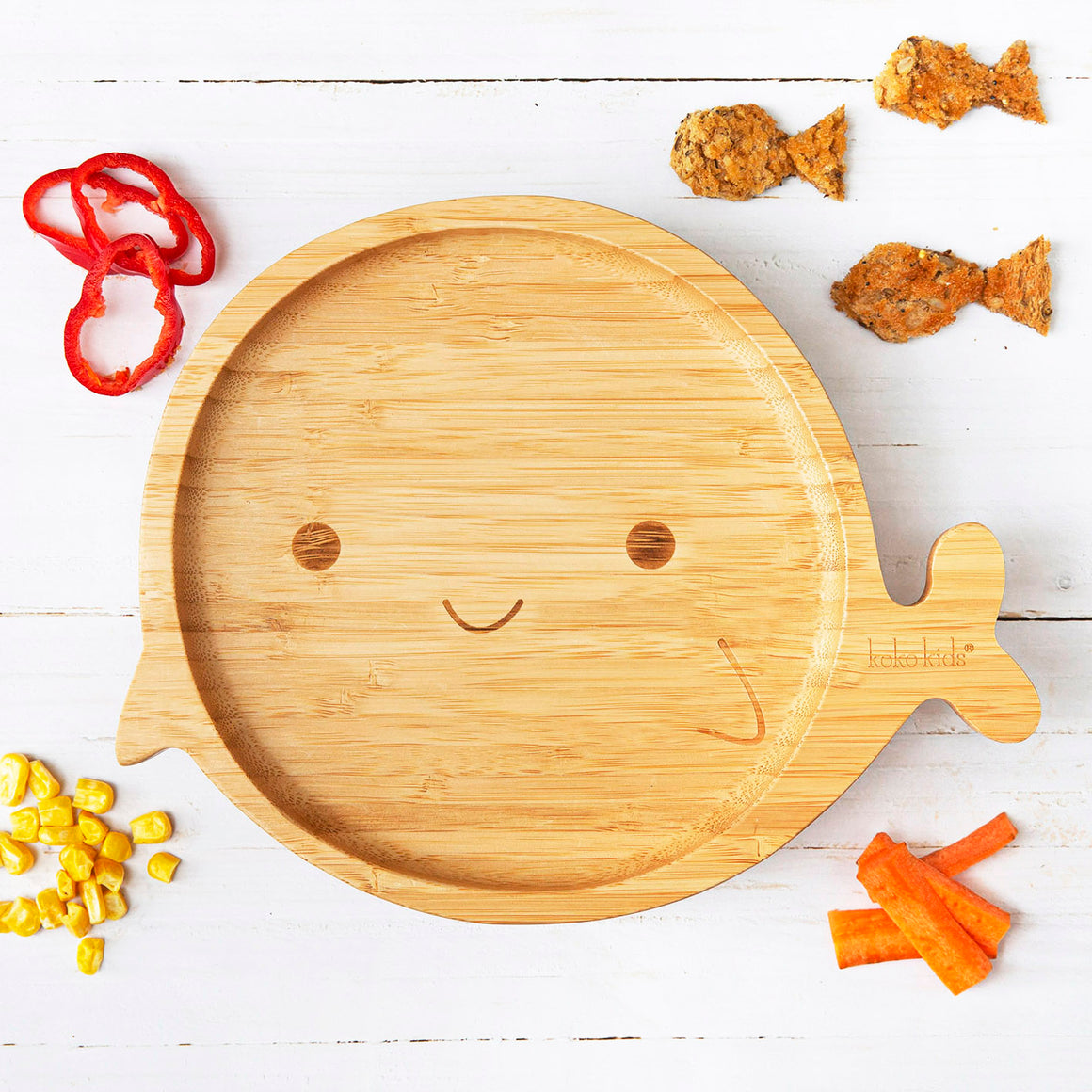Whale Bamboo Suction Plate
