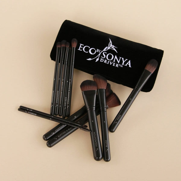 Eco by Sonya Vegan Brush Collection (12 Piece Luxury Brush Set) with pouch