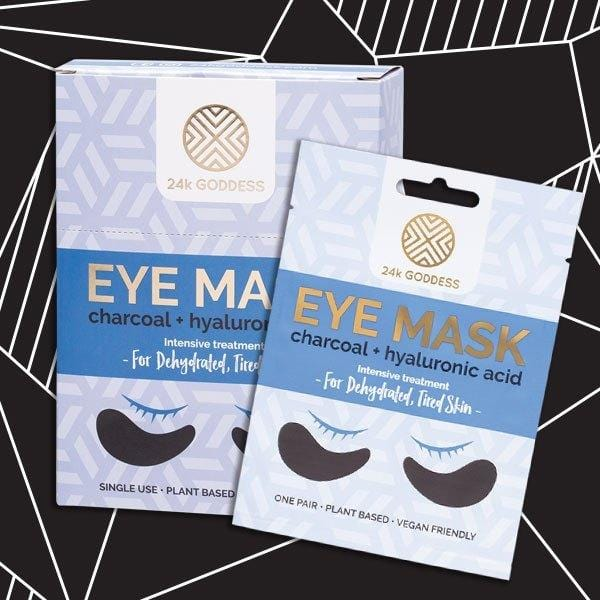 24k Goddess Eye Mask - Dehydrated, Tired Skin with charcoal and hyaluronic acid vegan skincare.