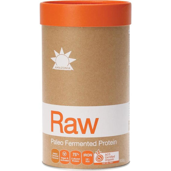 Amazonia Raw Fermented Paleo Protein - Salted Caramel Coconut - in various sizes - vegan protein powder online