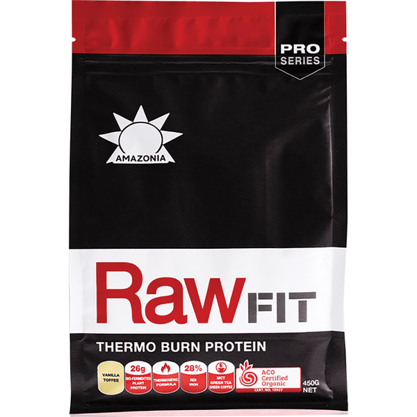 Amazonia Raw Fit Thermo Burn Protein Vanilla Toffee 450g - The Vegan Town