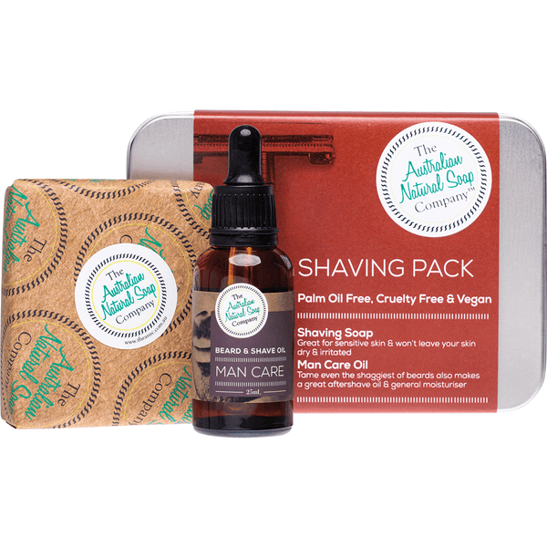 The Australian Natural Soap Company Shaving Pack with tin, bottle and soap | Vegan Skincare