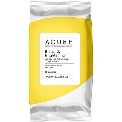 Acure Brilliantly Brightening Coconut Cleansing Towelettes x 30 - The Vegan Town