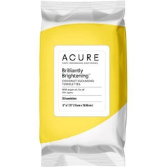 Acure Brilliantly Brightening Coconut Cleansing Towelettes x 30 - vegan beauty