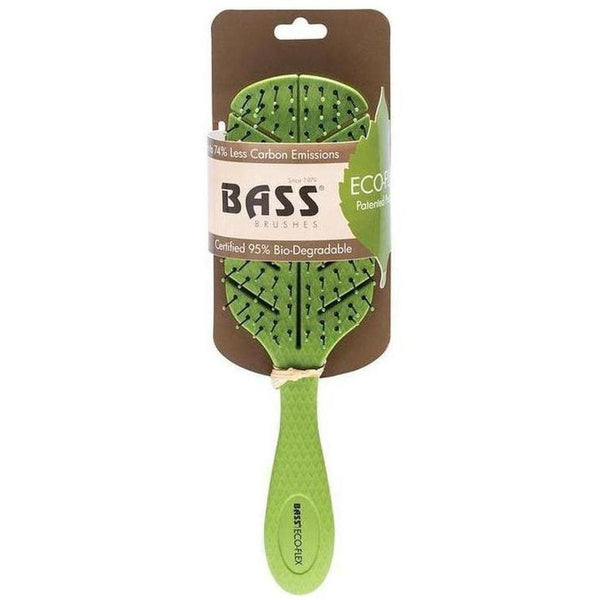 Bass Brushes Eco-Flex Detangler Hair Brush in green colour with packaging - vegan cosmetics