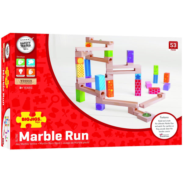 Big Jigs Toys Marble Run box with instructions and game information | Eco Toys | Educational Wooden Toys - The Vegan Town