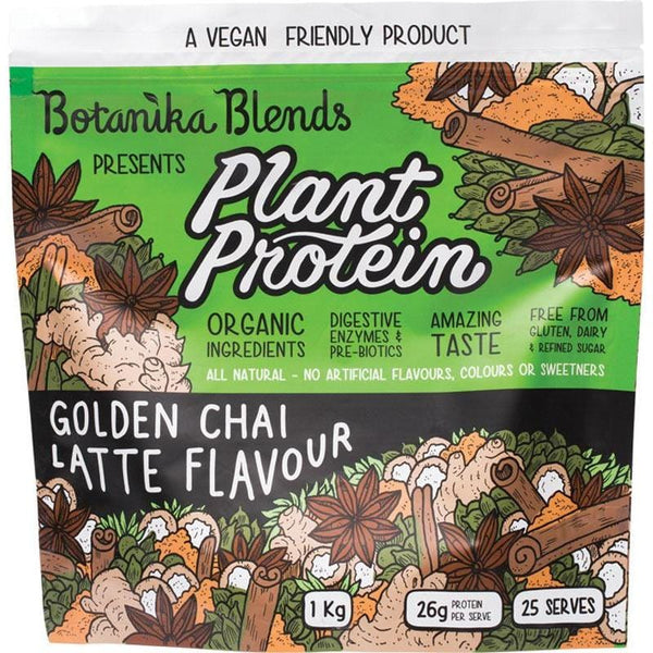 Botanika Blends Plant Protein Golden Chai Latte - in various sizes - The Vegan Town