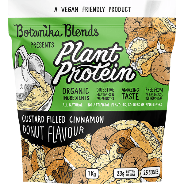 Botanika Blends Plant Protein Custard Filled Cinnamon Donut - in various sizes - The Vegan Town