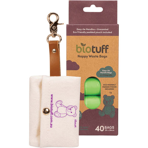 Biotuff Nappy Waste Bags & Dispenser 4 X 10 Bag Rolls 40 | Eco Products Online | Online Vegan Store