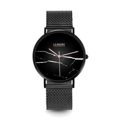 La Enviro Black Stainless Strap Watch with Black Marble Face
