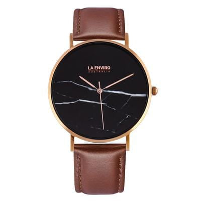 La Enviro Vegan Leather Watch with Rose Gold Plating & Black Marble Face