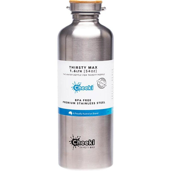 Cheeki Stainless Steel 1.6lt Thirsty Max Drink Bottle Single Wall - in various colours - The Vegan Town