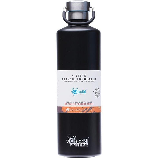 Black Insulated Stainless Steel Drink Bottle 1 Litre