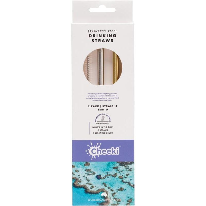 Cheeki Stainless Steel Silver & Gold Straws + Cleaning Brush - Straight - The Vegan Town