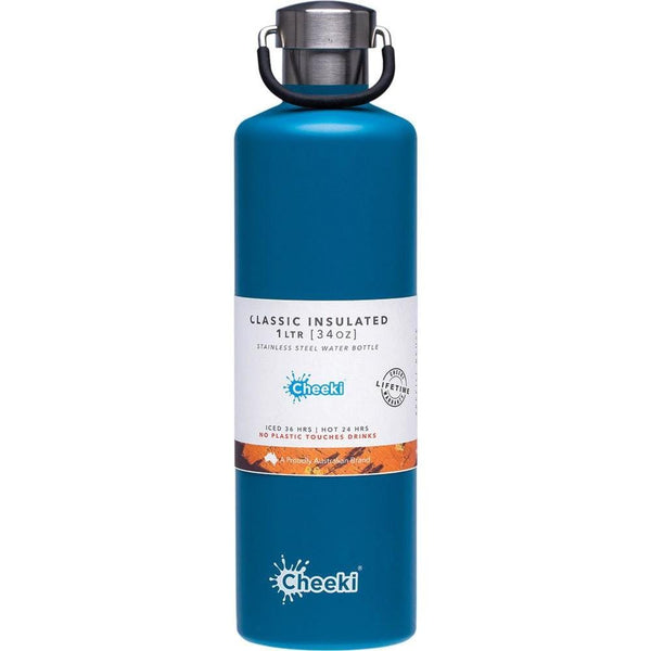 Blue Insulated Stainless Steel Drink Bottle 1 litre