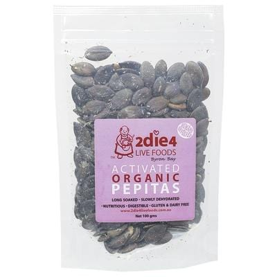 2Die4 Activated Organic Pepitas - various sizes available -  Vegan health food online