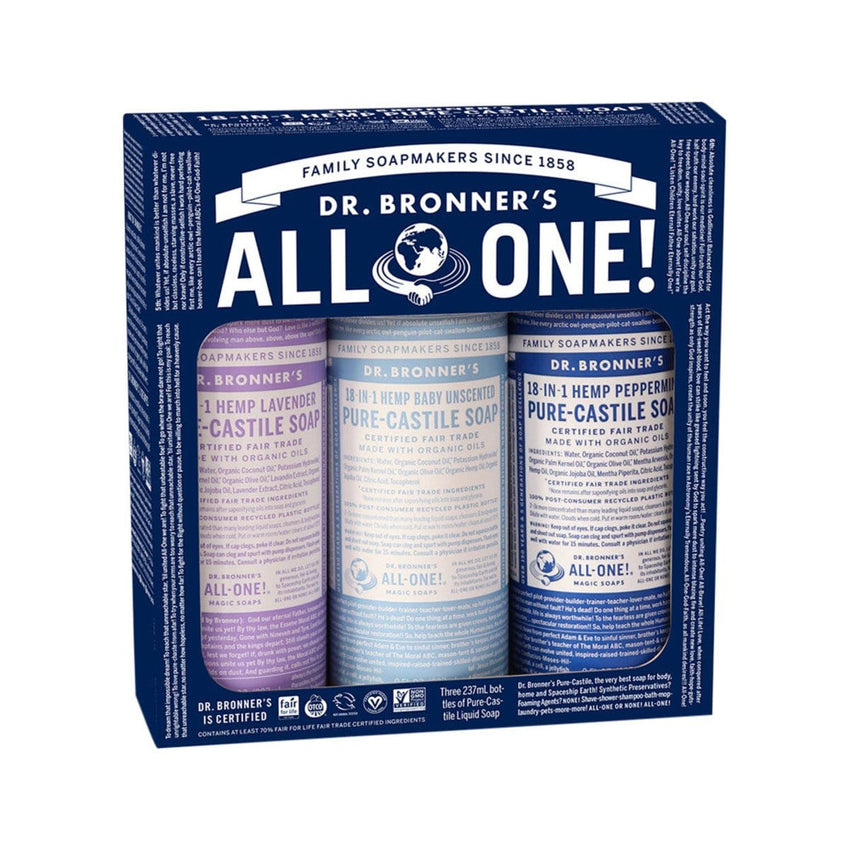 Dr Bronner's Cosmic Classics Pack (3x237ml Liquid Soap) Baby Unscented, Lavender and Peppermint