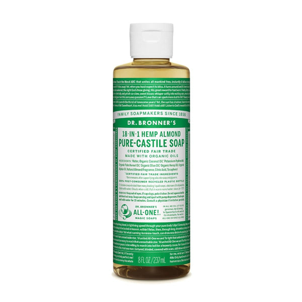 Dr. Bronner's Pure-Castile Liquid Soap (Hemp 18-in-1) Almond - The Vegan Town