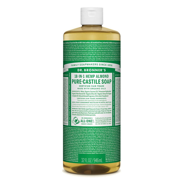 Dr. Bronner Soap Hemp Almond Pure Castile Soap Vegan and Eco Friendly 946ml