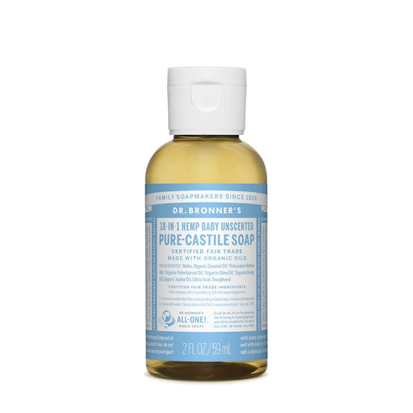 Dr. Bronner's Pure-Castile Liquid Soap (Hemp 18-in-1) Baby Unscented 59ml