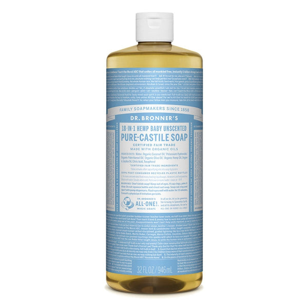 Dr. Bronner's Pure-Castile Liquid Soap (Hemp 18-in-1) Baby Unscented 946ml