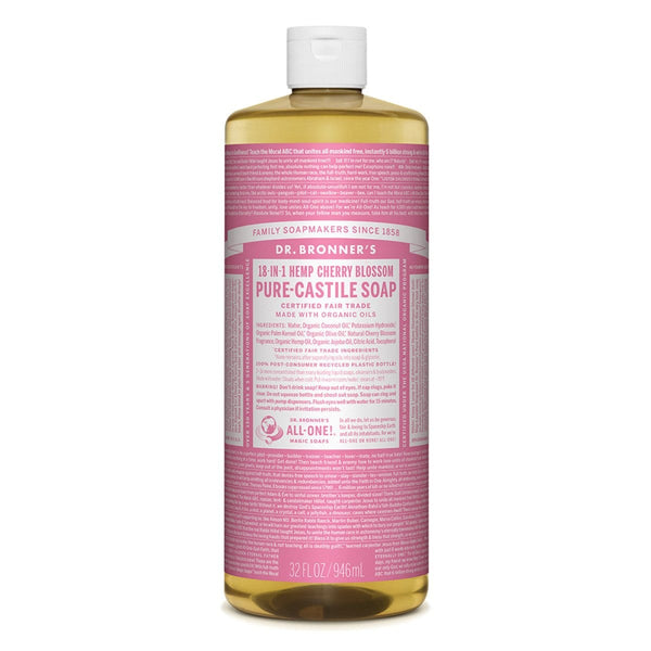 Dr. Bronner's Pure-Castile Liquid Soap (Hemp 18-in-1) Cherry Blossom - The Vegan Town
