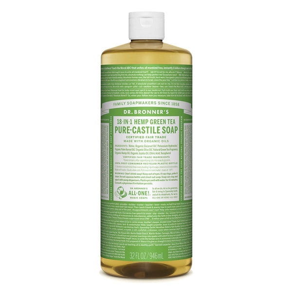 Dr. Bronner's Pure-Castile Liquid Soap (Hemp 18-in-1) Green Tea 946ml