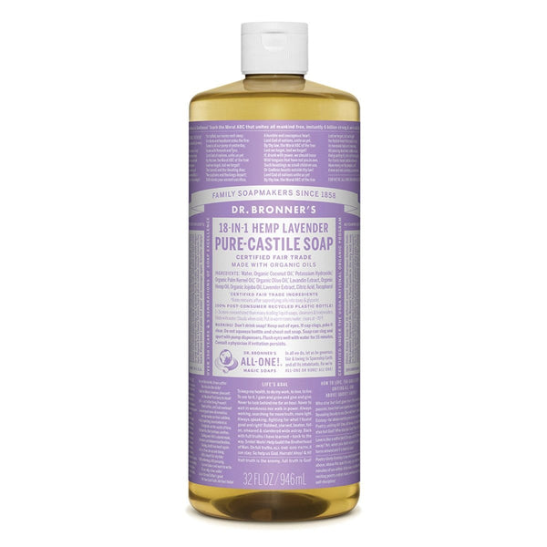 Dr. Bronner's Pure-Castile Vegan Liquid Soap (Hemp 18-in-1) Lavender 946ml