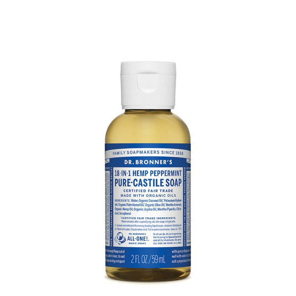 Dr. Bronner's Vegan Pure-Castile Liquid Soap (Hemp 18-in-1) Peppermint 59ml